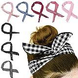 HBselect 8 Pièces Bande de Cheveux Pliable Bunny Oreille Tie Bow Coton Bandeau avec Dot ou Bande pour Femmes