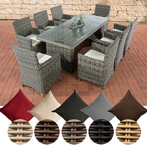 CLP Poly-Rattan Sitzgruppe FONTANA XL (8 Stühle + Tisch 200 x 90 cm), Premiumqualität: 5 mm RUND-Geflecht Bezug: Cremeweiß, Rattan Farbe grau-meliert