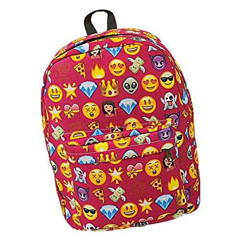 SAMGU Zaino Donne Zaino Viaggio Borsa Backpack Emoji Scuola rosa rossa