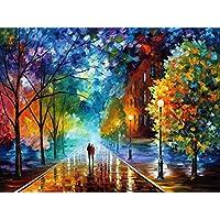 Suntown Malen nach Zahlen 40 x 50cm DIY Leinwand Gemälde für Erwachsene und Kinder mit 3 Bürsten und Acrylfarben (Nur Leinwand oder Leinwand ist Vormontiert)