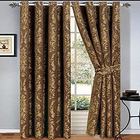 Luxury Jacquard Curtains Pair Fully Lined Ready Made Ring Top With Free Tie Backs And P&P (90 X 72, Chocolate)