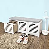 SoBuy® White Storage Bench with 3 Drawers & Removable Seat Cushion, Shoe Cabinet Shoe Bench, FSR23-W