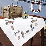 Kamaca Stickpackung AM Meer Kreuzstich vorgezeichnet aus 100% Baumwolle qualitativ sehr hochwertig Mitteldecke 80 x 80 zum Selbersticken