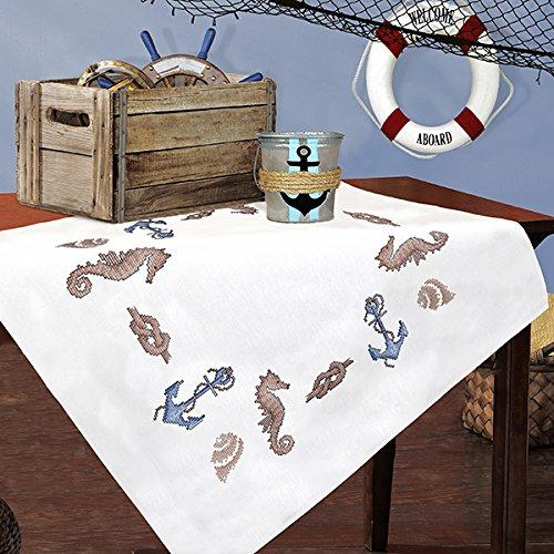Kamaca Stickpackung AM Meer Kreuzstich vorgezeichnet aus 100{0bdcdc1f7d0d6f1fbc42f8cc353ea3d575731940837162dd21719b4ed7f950ad} Baumwolle qualitativ sehr hochwertig Mitteldecke 80 x 80 zum Selbersticken