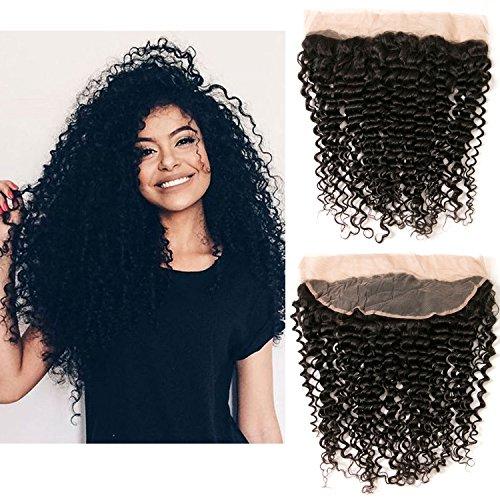 Extension di capelli ricci brasiliano crespi ricci intrecciare capelli umano chiusura pizzo frontale parte libera 4x13 colore naturale 10 pollici