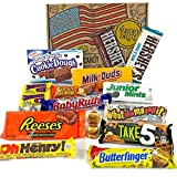 American Chocolate Candy Hamper Box | Assortment Includes Reeses, Hersheys, Butterfinger, Baby Ruth Bar | American Sweets Selection | Value Pack 18 Items in a Retro Gift Box