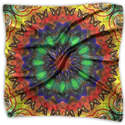 Bufanda de satén para mujer, diseño cuadrado, varios colores, para el cuello, la cabeza, el caleidoscopio, teñido, mandala de hierba, 60 x 60 cm