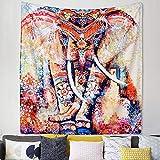 Tapisserie Murale Mandala Indien, Tapisseries Hippie, Tapisserie d'Imprimé Floral Elephant, Couvre-lit à une Seule Couvre-lit, Pique-Nique Plage, Nappe, Tenture Murale Décorative, 150 x 130 cm