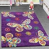 Kinderteppich Schmetterling Design Kinderzimmer Spielzimmer Multicolour In Lila, Größe:80x150 cm