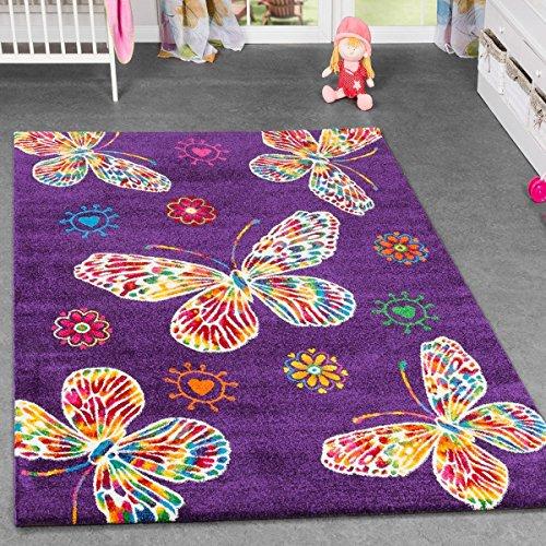 Tappeto per cameretta dei bambini con farfalle; multicolore, prevalentemente viola, 80 x 150 cm