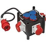 Brennenstuhl Compacte rubberen stroomverdeler/rubberen verdeler, 1m kabel, 3x CEE 400V/16A, 3x 230V/16A, bouwplaatsgebruik en
