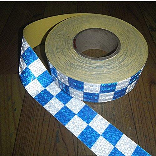 Tuqiang® 300CM × 5CM Blau mit Weißem Quadrat Reflektierende band Selbstklebende Sicherheit Warnung Conspicuity Nacht Reflektor Streifen Tape Film Aufkleber -
