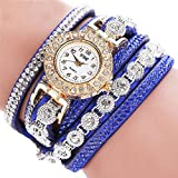 Lucky mall Damenmode Armbanduhr, Analog Quarz Damen Strass Uhr