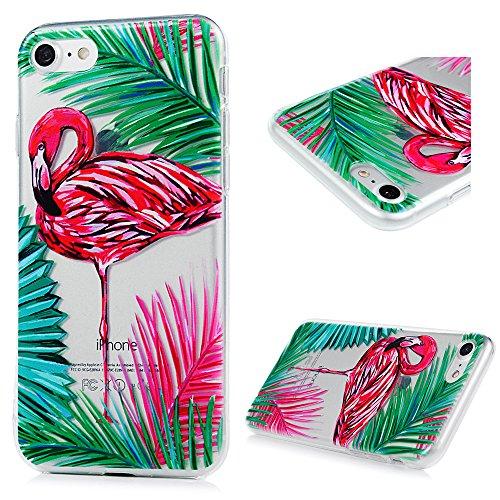 iPhone 7 Funda TPU Silicona Suave Ultra Delgada Transparente,YOKIRIN Carcasa Pintada Cubierta Dibujos Case para iPhone 7 4.7 Pulgadas Completa Protección para Choques - Flamenco