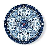 Kolorobia Blue Buds Glass Wall Clock