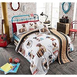 5piezas cama en una bolsa, moderno completo edredón/juego de cama, ropa de cama, cama en una bolsa Pug Fashion (doble)