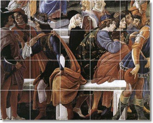 SANDRO BOTTICELLI RELIGIOSO AZULEJOS MURAL 23  32X 40CM CON (20) 8X 8AZULEJOS DE CERAMICA