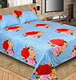 The Intellect Bazaar 144 TC Polyester Bedsheet with 2 Pillow Covers - Double, Blue