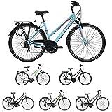 Pegasus Piazza Trapez 21 Gang Damenfahrrad Trekking Fahrrad 2018, Rahmenhöhe:45 cm, Farbe:blau