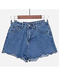 WHTLL-Été Denim Shorts taille mince irrégulière short en jean Wavy des Étudiantes