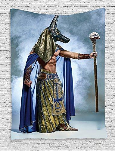 ambesonne Ägyptische Decor Kollektion, alte Ägyptische Pharao mit einer Maske von Anubis Foggy Hintergrund Print, Schlafzimmer Wohnzimmer Wohnheim Wandbehang Wandteppich, Olive Grün Blau