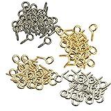 #5: Segolike 200pcs Small Screw Eyes Pins Eyepins Hanging Hooks Eyelets Threaded Hardware