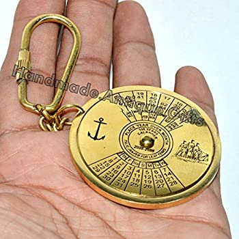 Vintage Brass Keychain Key Ring 100 Years Calendar Brass Gift 3
