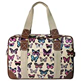 Miss Lulu Hand Shoulder Bag Ladies Owl Butterfly Floral Polka Dot Print Oilcloth Travel Overnight Weekend School Bag