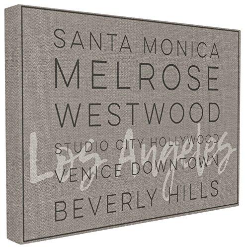 The Stupell Home Décor Collection La Santa Monica Beverly Hills Typographie Wandschild, Canvas, Mehrfarbig, 40.64 x 3.81 x 50.8 cm -