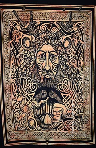 ie Dye Celtic Mann Gesicht Wand Kunst Poster, keltische Wand-Dekor, böhmische Wandbehang, Hippie Wohnheim Zimmer Dekoration, Gypsy Wall Art, Größe 30