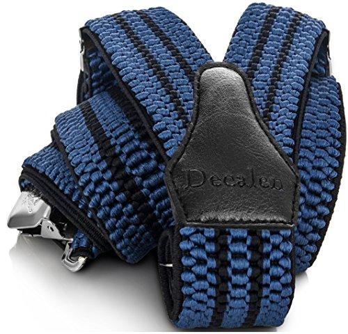 Decalen Hosenträger für Herren breit extra starken 4 cm mit 3er Clips Y Form Lang für Männer und Damen Eine Größe Passt Alle Verschiedenen Farben (Blau Schwarz)