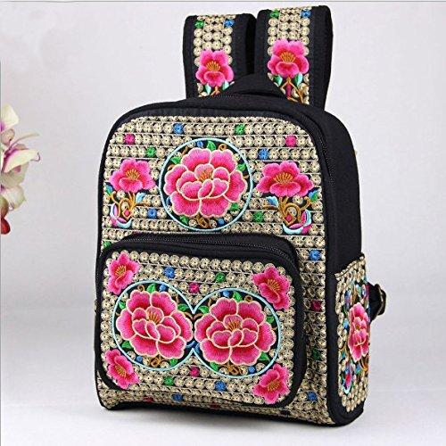 Vento nazionale ricamo borse tracolla ricamo viaggi personalizzati nello zaino piccolo peonia Smiling Face Flower