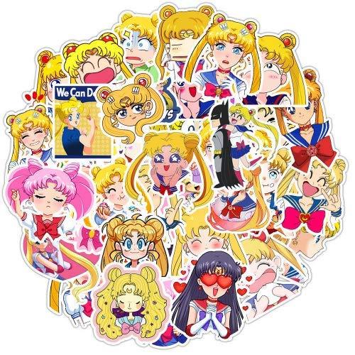HZHUI Pretty Guardian Sailor Moon Adesivi per impermeabilizzare Adesivi Fai da Te per Bagagli Skateboard Moto Laptop Car Snowboard 50pcs