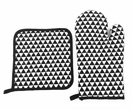 Set Guante Horno y Agarradera XYZ IDEA Juego de Manopla Salvamanteles Diseño Cocina Resistente al Calor