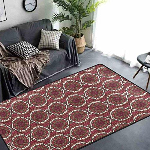 yibaihe Graceful rot Oriental Floral Design Schöne Einrichtung Bereich Teppich Teppich Fußmatte für Hartholz Böden Wohnzimmer Schlafzimmer wasserabweisend rutschfeste weiche, 91 x 61 cm (Oriental Bereich Teppich)