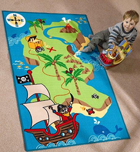 Lord of Rugs Alfombra para niños, diseño de barco pirata y mapa del tesoro, 100 x 160 cm