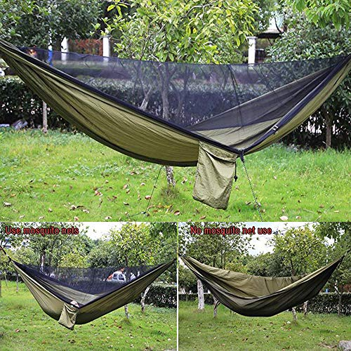 New_Soul Camping Hammock with Mosquito Net 290x140CM Outdoor Travel Hammock Portable Lanyard Sleeping Swing Hanging Bed for Camping Hiking Backpacking with Tree Straps and Carry Bag New_Soul