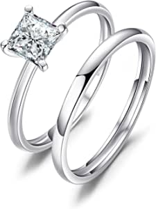 JewelryPalace Princess Cut 0.6ct Cubic Zirconia Wedding Band Solitaire Engagement Ring Bridal Sets 925 Sterling Silver Size L