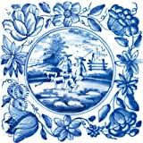 Glasbild Blaue Fliesenmalerei - Motiv 2 - Schäfer auf der Weide - Größe 20 x 20 cm