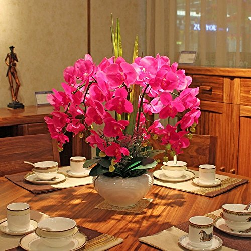 Jnseaol Kunstblumen Orchidee Diy Hochzeit Hotel Party Küche Fensterbank Eine Große Dekoration Keramiktopf Rot -01