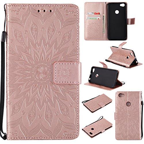 """WindTeco Funda Xiaomi Redmi Note 5A / Redmi Note 5A Prime, Emboss Pattern de Girasol Cartera Flip de Piel PU Libro Billetera con Función de Soporte y Ranuras de Tarjeta para Xiaomi Redmi Note 5A 5.5"""""""