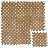 LittleTom Puzzlematte Hellbraun gepunktet Polka-Muster Spielmatte Spielteppich Schaumstoff Puzzle Kinderteppich