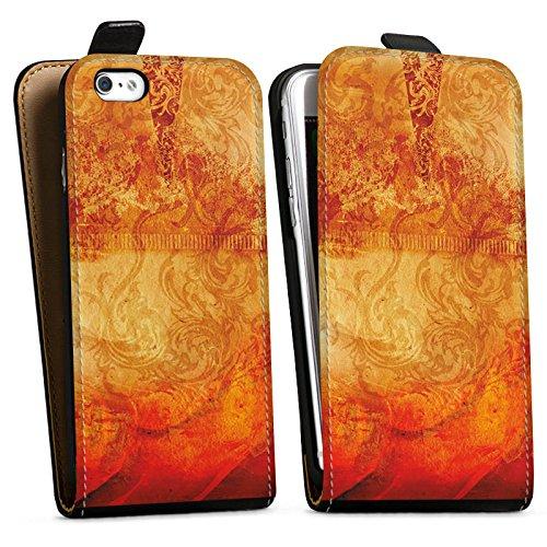 Apple iPhone X Silikon Hülle Case Schutzhülle Feuer Muster Orange Downflip Tasche schwarz
