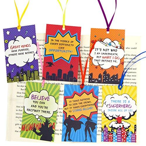 Segnalibri per bambini, regalo per studenti, premi, confezione da 24, con supereroi