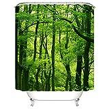 Nibesser Anti-Schimmel Duschvorhang Waschbarer Textil Duschvorhang Baum Digitaldruck inkl. 12 Duschvorhangringe für Badezimmer 180cm x200cm