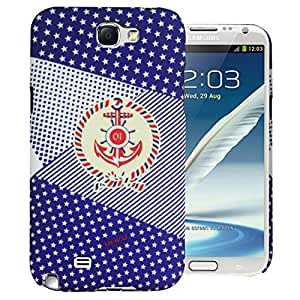 Heartly Star Printed Design High Quality Hard Bumper Back Case Cover For Samsung Galaxy Note 2 N7100 - Navy Blue
