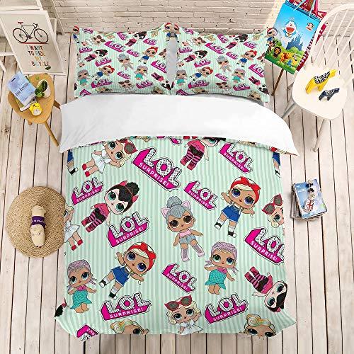 bed linings Cartoon Puppe Bettbezug Sets 3D Druck 3 Stück Set Bettwäsche 100% Mikrofaser Für Geschenke (1 Bettbezug + 2 Kissenbezüge) G-Queen(228cm*228cm) -