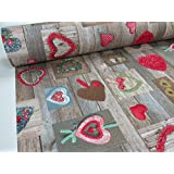 Metraje 0,50 mts tejido loneta estampada navidad Ref. Navidad Corazones Rojo, con ancho 2,80 cms.
