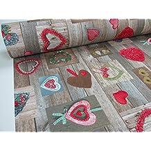 Metraje 2,45 mts tejido loneta estampada navidad Ref. Navidad Corazones Rojo, con ancho 2,80 cms.