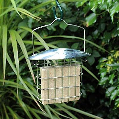 Kingfisher Hanging Suet Fat Cakes Holder, Steel Wild Bird Block Meal Food Feeder by Happy Beaks by Happy Beaks